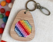 Funky Bamboo Embroidered Keyring Kit / Diagonal Rainbow Embroidery / Geometric Continental Stitch