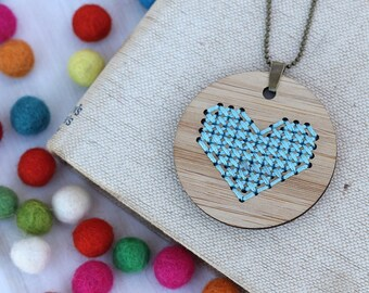 Heart Cross Stitch - DIY Necklace Kit - Aqua Bamboo Embroidery DIY