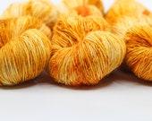 Saffron Kitten - Sock Yarn - Hand Dyed Variegated Yarn - Speckled Yarn - Single Ply Superfine Merino Nylon Yarn - Fingering Hand Dyed Yarn