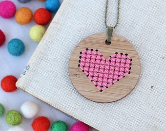 Pink Heart Cross Stitch - DIY Necklace Kit - Bamboo Embroidery DIY
