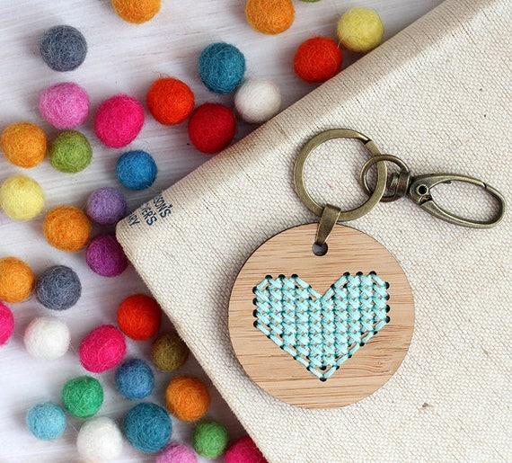 Modern Embroidered DIY Keyring / Bamboo Embroidery Kit / Aqua BlueHeart  Cross Stitch / Love Kit