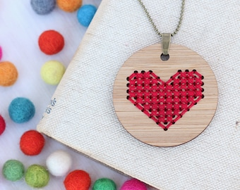 Red Heart Cross Stitch - DIY Necklace Kit - Bamboo Embroidery DIY