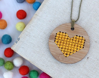 Yellow Heart Cross Stitch - DIY Necklace Kit -  Bamboo Embroidery DIY