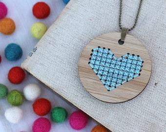 Heart Cross Stitch - DIY Necklace Kit - Aqua Bamboo Embroidery DIY