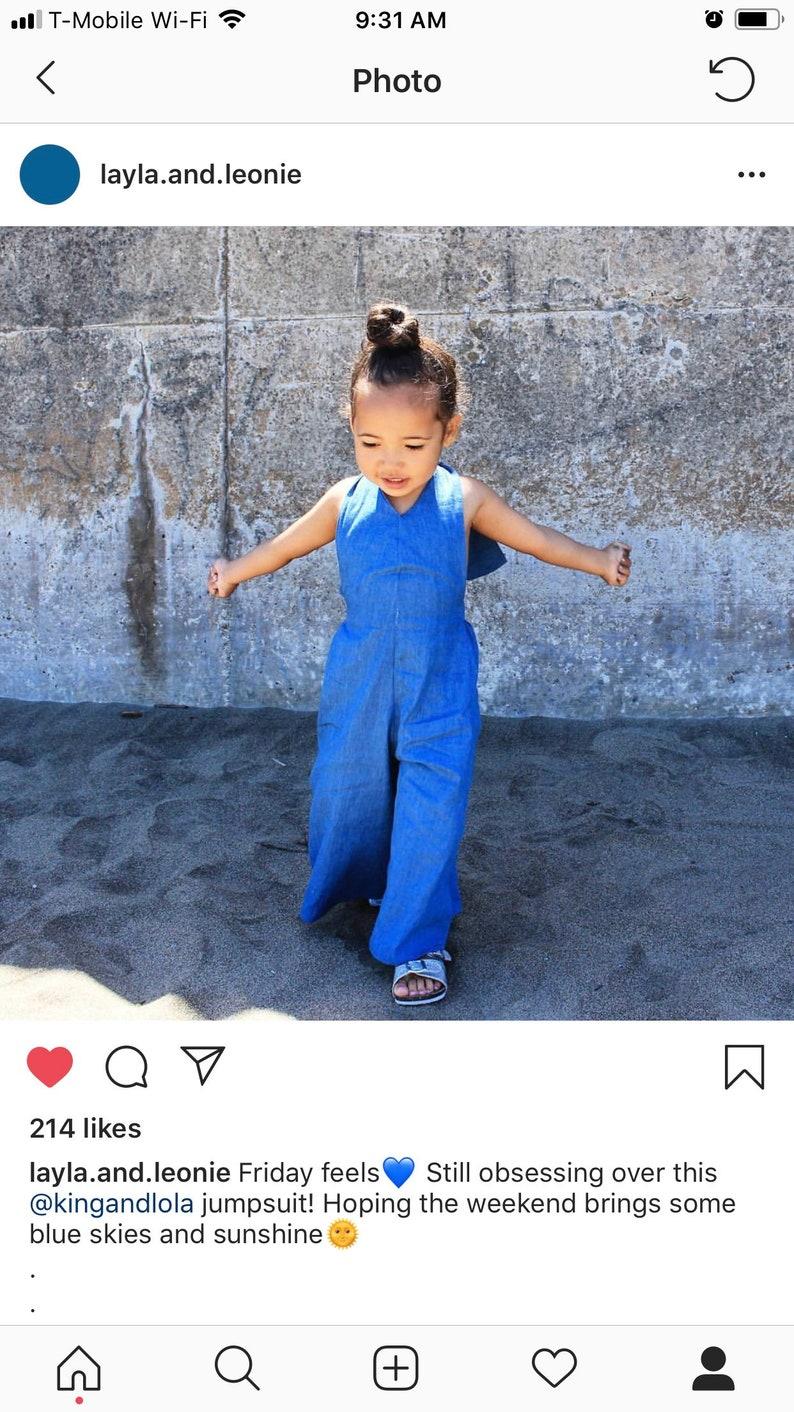 Palazzo Denim Jumpsuit for ToddlerKids by King and Lola denim 2018 fashion-kids-girls-jumpsuit-overalls baby denim toddler denim romper