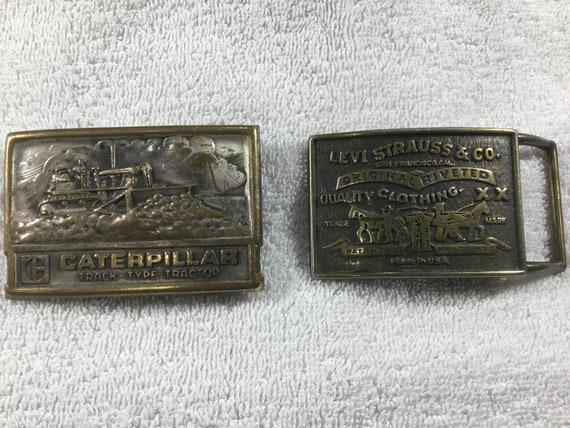 Lot Of 2 1970's Brass Belt Buckles LEVI Strauss &