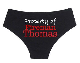 Personalized Lingerie, Personalized Property of Fireman Panties Funny Panties Honeymoon Lingerie Bridal Underwear Bachelorette Party Gift