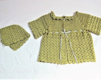 Baby Sweater Set, Crochet Baby Set, Baby Sweater, Baby Cap, Crochet Baby Sweater, Gifts for Baby