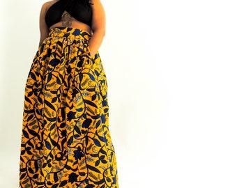 Jaune African Print Maxi Skirt
