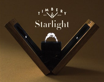 Slim Engagement Ring Box With Led Light, Proposal Ring Box With Illumination, Custom Wooden Ring Box With Lighting, STARLIGHT | by Timbery