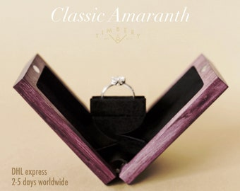 Engagement ring box, thin proposal ring box, Custom slim wooden ring box, CLASSIC AMARANTH (Purpleheart) with wax finish | by Timbery