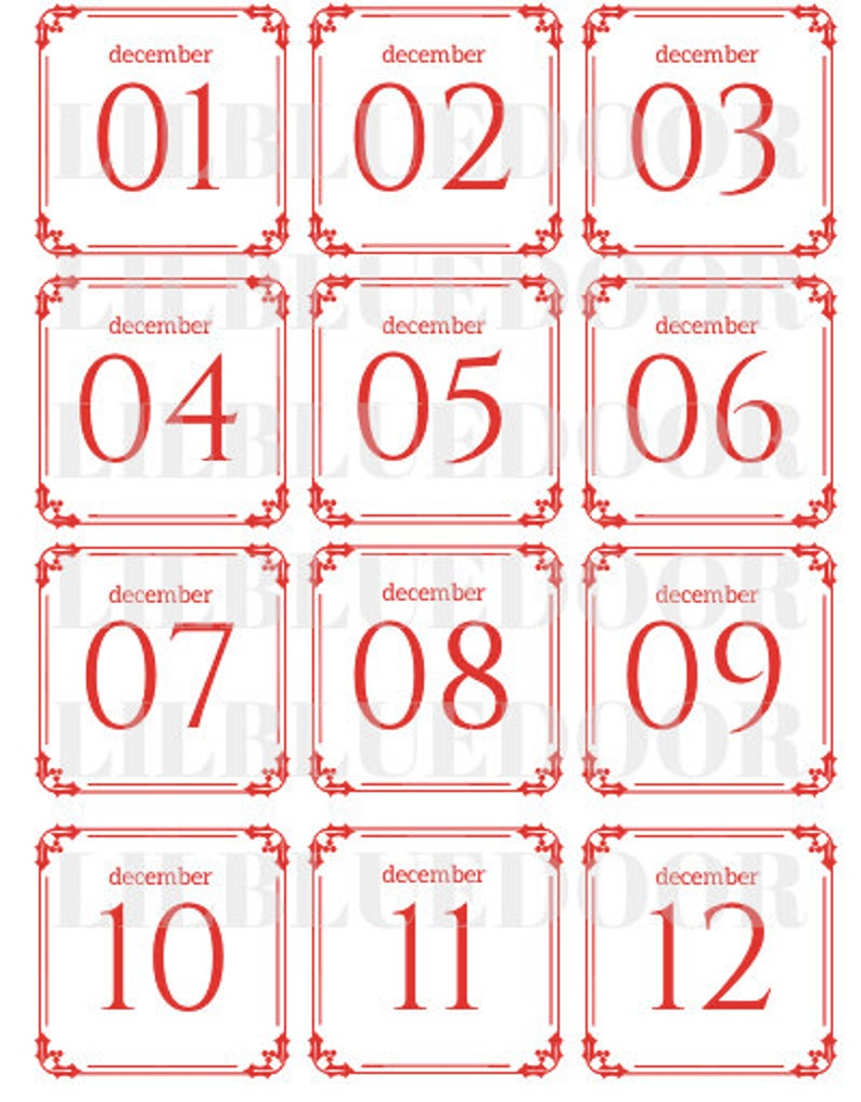 Christmas Advent Calendar Printable Numbers: 1-25 Red and ...