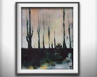 Unique Wall Art. Print on Fine Art Paper or canvas. Tree Wall Art. Landscape painting w/ silhouette.