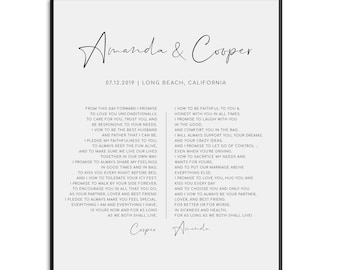 Wedding Vow Print - Personalized custom physical print. Printed and shipped with optional frame