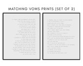 Customized Matching Wedding Vows Print - His and Hers Vows with typewriter font