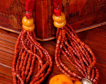 DISCOUNT,FREE SHIPPING.Berber,african necklace.Handmade,ethnic accessory.Unique piece with Orange and Red beadings.Vintage and Trendy