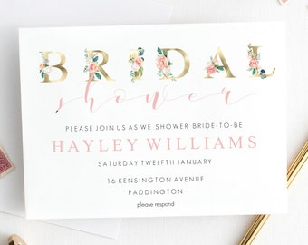 printable floral bridal shower invitation gold foil bridal shower editable invitation instant download hens party invitation diy
