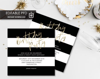 black white invite etsy