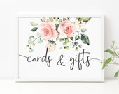 Blush Floral Cards and Gifts Sign - Wedding Present Table Sign - Printable Baby and Bridal Shower Sign - Darcy Floral Pink