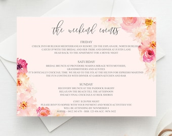 printable bachelorette itinerary template weekend itinerary etsy
