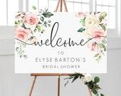 Blush Floral Welcome Sign Landscape - Greenery Printable Wedding Sign - Baby Shower Sign - Engagement Sign - Darcy Floral Pink