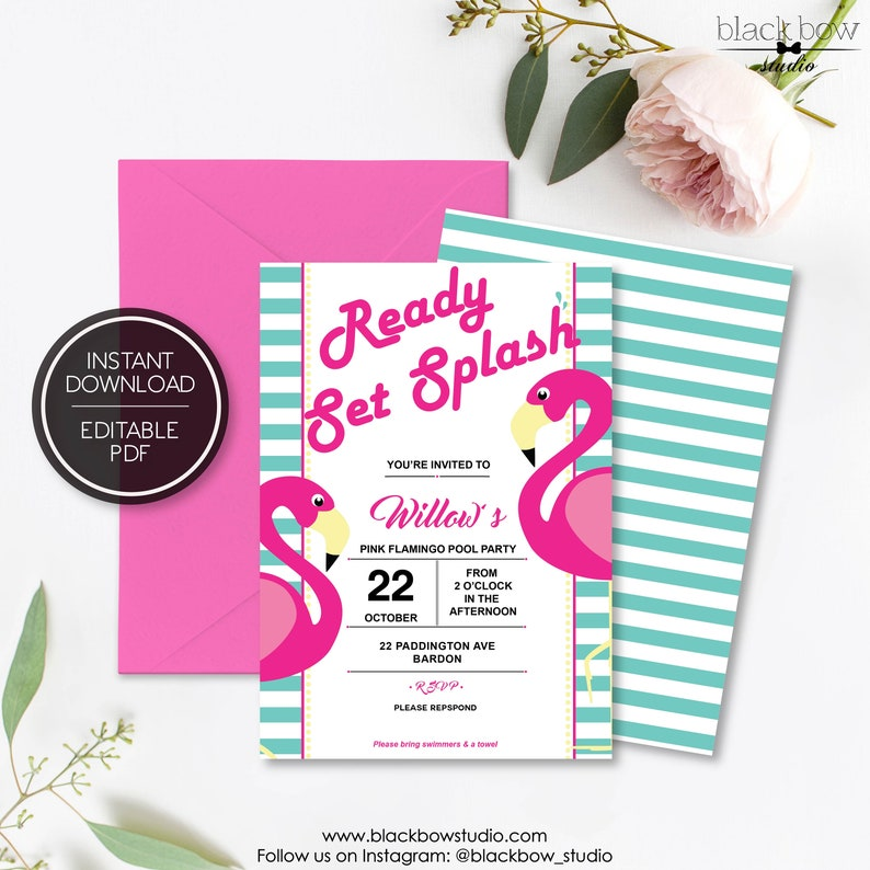 photo relating to Printable Flamingo Template named Printable Flamingo Birthday Invitation Template - Editable PDF Template - Pool Social gathering - Miami Topic - Red - Tropical Topic - Gals Bash