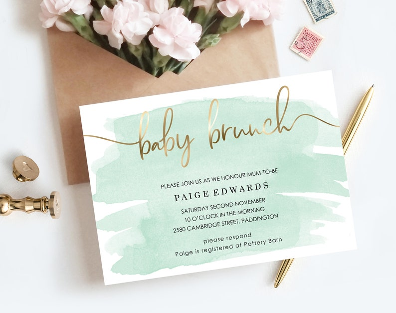 Mint Green Baby Brunch Invitation Template