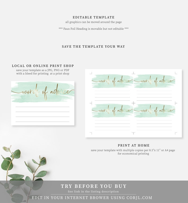 Gold Foil Green Watercolour Words of Advice Card and Sign Template Gender Neutral Baby Shower Printable Sign