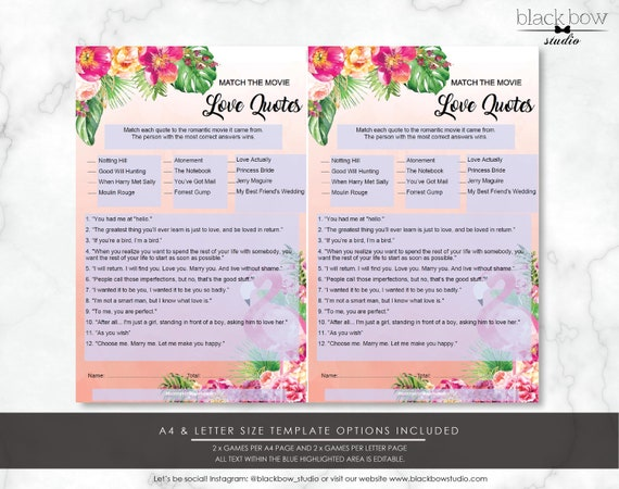 Printable Bridal Shower Movie Love Quotes Game - EDITABLE INSTANT DOWNLOAD  - Hen's Party Game - Tropical Flamingo - Palm Springs