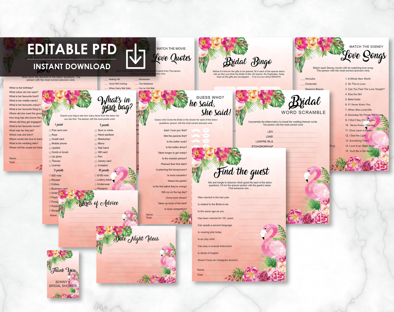 46f4b08b3b5a Tropical Flamingo Printable Bridal Shower Games Bundle Pack