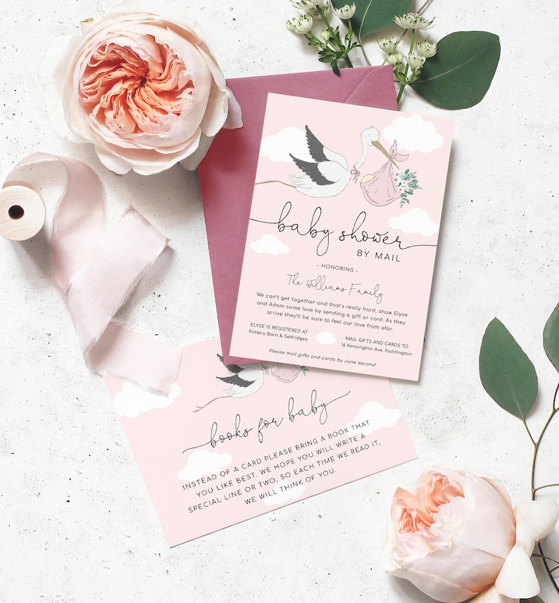 Pink Stork Shower By Mail Printable Invitation Book Request  image 0