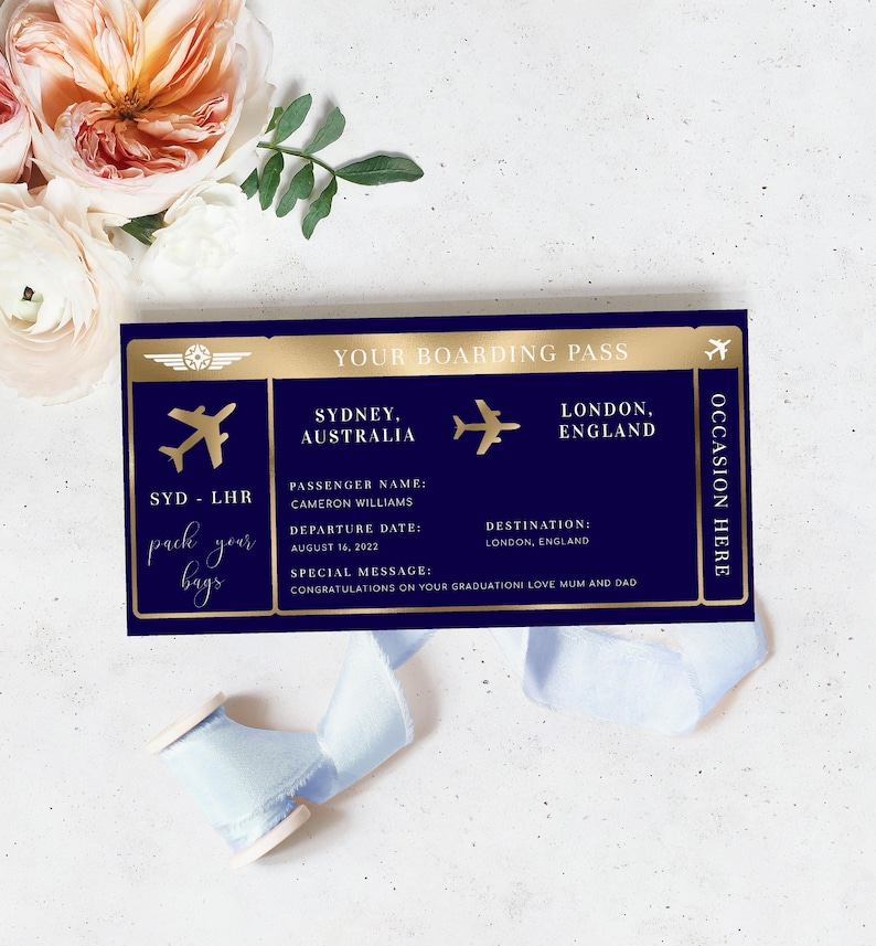 Editable Boarding Pass Template  Printable Navy Gold Surprise image 0