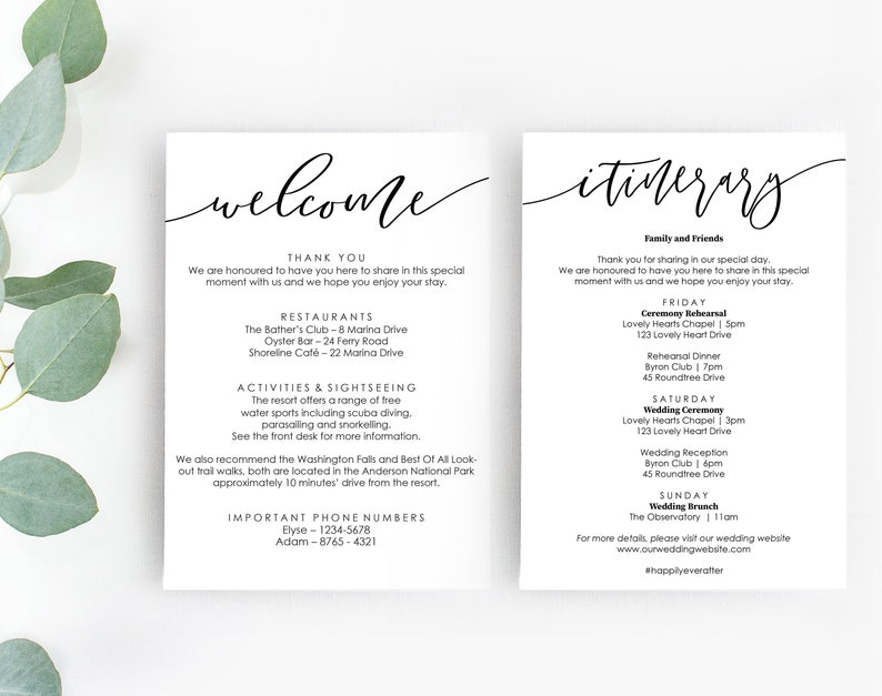 Printable Itinerary And Welcome Bag Template Wedding Welcome Bag Itinerary Tags Bachelorette Weekend Itinerary Hen S Party Welcome