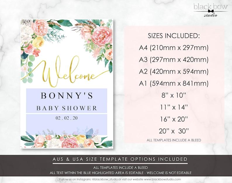 Bridal Shower Sign Afternoon Blooms Baby Shower Sign Vintage Floral Gold Foil Printable Welcome Sign Wedding  Sign Engagement