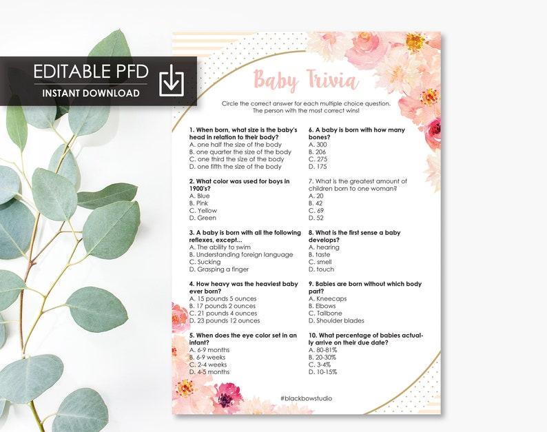 Printable Baby Shower Trivia Quiz Game - Editable INSTANT DOWNLOAD - Baby  and Pregnancy Trivia Quiz