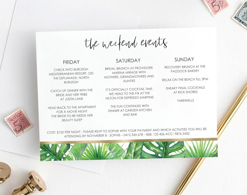 Sensational Printable Tropical Greenery Bachelorette Itinerary Template Weekend Itinerary Palm Springs Hens Party Itinerary Template Download Free Architecture Designs Intelgarnamadebymaigaardcom