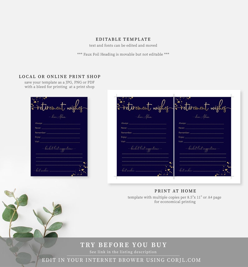 Gold Glitter Unisex Retirement Party Printable Editable Corjl Template Navy Gold Retirement Wishes Template Male Retirement