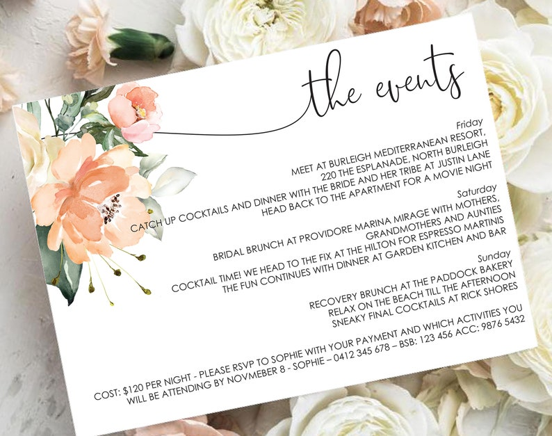 Peach Floral Bridal Shower Weekend Itinerary Template - Editable Wedding  Weekend Itinerary - Editable Instant Download - DIY Invitations