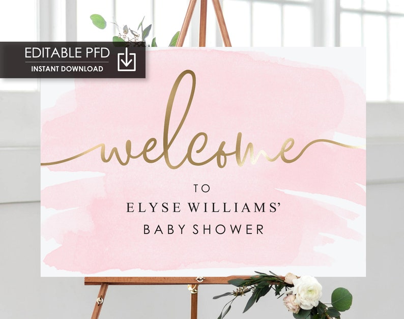 Pink and Gold Welcome Sign - Bridal Shower Welcome Sign - Printable Wedding  Welcome Sign - Baby Shower Sign - Engagement Sign - Gold Foil