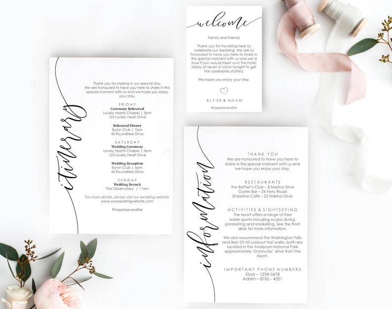 Printable Itinerary And Information Cards Welcome Bag Tag Template Wedding Welcome Bag Itinerary Tags Bachelorette Weekend Itinerary