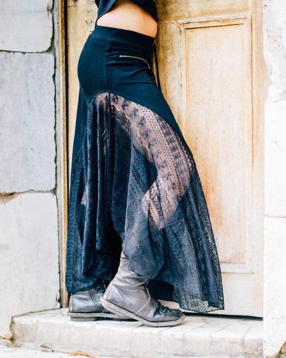 Crystal Lace Skirt black festival clothesfestival clothingfestival skirtgypsy skirt lace skirt long skirts women high waisted skirt