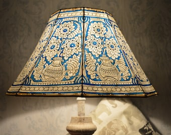 mandala pot lamp shade large sea blue hand painted leather lampshade unique patter floor lampshade 8 faced shade h 95 w 16 inches - Unique Lamp Shades