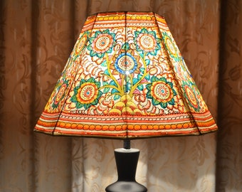 Indian lamp shade etsy floor lampshade medium lamp shade painted lampshade lamp shade indian lampshade vintage style lampshade aloadofball Image collections
