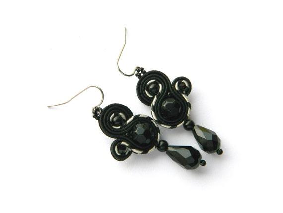 black long earrings Modern,boho earrings Black soutache earrings