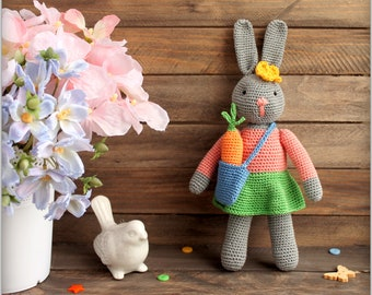 Bunny crocheted toy Stuffed Amigurumi Toy Plush Softie Baby soft toy hare rabbit custom toys Easter gift for Children Kids Stuffed Toy