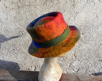 34fae15837051 Rainbow felt fedora festival hat