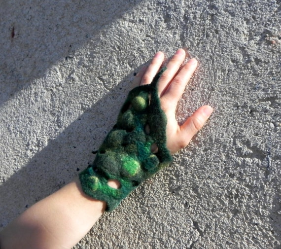 woodland felt wrist warmer festival cosplay green bracelet forest elf boho jewellery Blue green pixie faerie cuffs