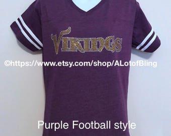 8796f655b68b2 Vikings Script Rhinestone T-Shirt