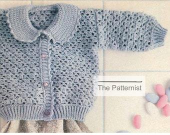 449c26dc51087d Crochet Pattern Baby Shell Stitch Cardigan Sweater Peter Pan Collar Infant  Girl Feminine Vintage PDF Instant Download SKU 6-6