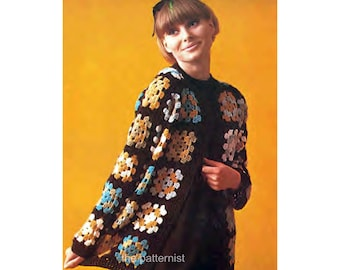 "Vintage Crochet Pattern Women's Granny Square Cardigan Boho Sweater Bust 34/36"" Stashbuster DK Yarn PDF Instant Digital Download SKU 46-2"